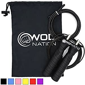 WOD Nation Attack Speed Jump Rope - Adjustable Jumping Ropes - Unique 2 Cable Skipping Workout System - 1 Thick and 1 Light 10' Cable - Perfect for Double Unders - Fits Men and Women, Black