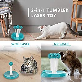 Newest Cat Laser Toy,Upgraded Interactive Tumbler Laser Toys for Pet,Automatic Electronic Cats Pets Kitten Chaser Toy with Laser Indoor,4 Speed Modes,3 Timer Settings,Irregular Circle,FDA Approved