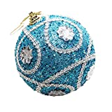 Pausseo 8cm Merry Christmas Rhinestone Glitter Baubles Balls Xmas Tree Ornament Decoration Hanging Pendant Creative Display DIY Home Decor Door Hanging Kids Toy Doll Gift Festival Prop (Blue)