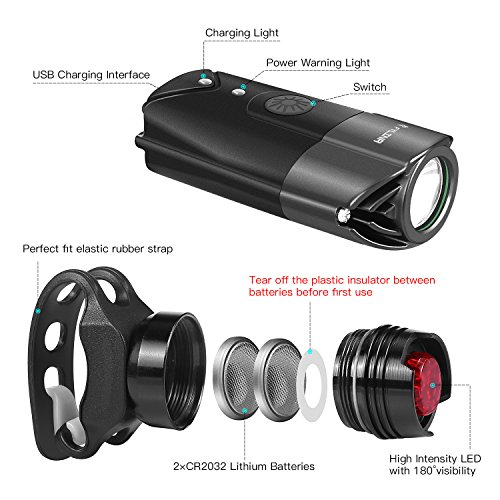 FYLINA Bike Light Kit Front and Back, Bicycle Headlight Rechargeable with Two Tail Light Powerful Lumens Bicycle Led Light Set Waterproof Fits with Mountain Bike, Road Bike for Safety by FYLINA (Image #4)
