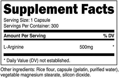 Nutricost L-Arginine 500mg, 300 Capsules – Gluten Free and Non-GMO