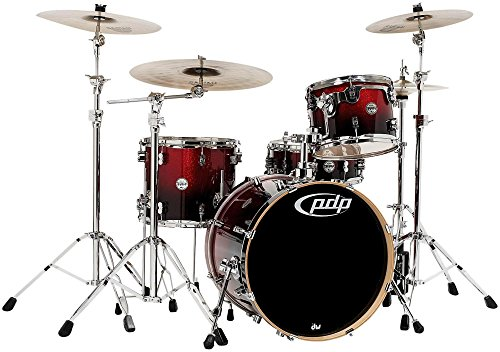 pacific-drums-pdcm2014rb-4-piece-drumset-with-chrome-hardware-red-to-black-fade