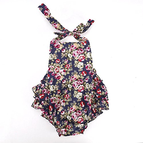 Cute Baby Infant Girls Floral Ruffles Romper Jumpsuit (1-2 - One Gap Piece Baby