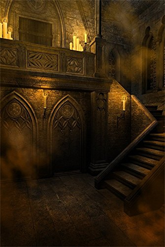 AOFOTO 4x6ft Gloomy Gothic Medieval Room Backdrop Scary Halloween Photography Background Horrible Retro Haunted House Interior Stone Wall Candle Stair Vampire Ghost Studio Props Vinyl Wallpaper -
