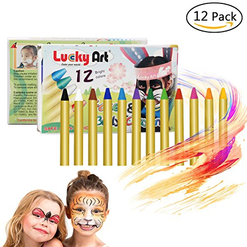 Hip Mall 12 Colors Face Paint Crayons, Safe