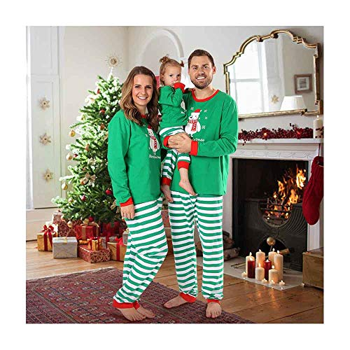 Baywell Christmas Holiday Matching Snowman Printed Pajama Family Clothes Sets (Size L/5-6Y/110, Kids)