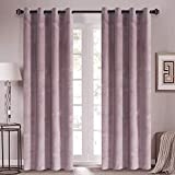Roslynwood Sakura Pink Velvet Drapes Solid Room Darkening Rod Pocket Window Curtain Panel Pair Red Wine, 50' x 84' Rod Pocket