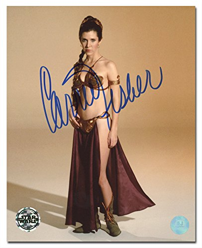 Carrie Fisher Autographed Princess Leia Gold Bikini Star Wars 8x10 Photo