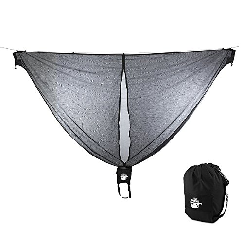 Legit Camping Hammock Bug Net 11 Feet Long Mosquito Net - Keep Out Noseeums -Compatible with All Hammock Brands - Includes Ridge Line - (Black)