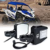 Xprite UTV Rear Side Mirrors with LED Spot Lights and Adjustable Clear Lens fit 1.5'' to 2.5'' Roll Bar Cage for Polaris RZR XP 1000, UTV, ATV, Yamaha, Can Am Maverick X3 and other Models