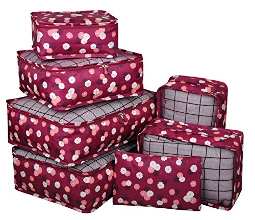 Vercord 7 Set Travel Packing Organizers Cubes Mesh Luggage Cloth Bag Cubes With Bra/Underwear Cube and Shoe Pouch, Burgundy Flower