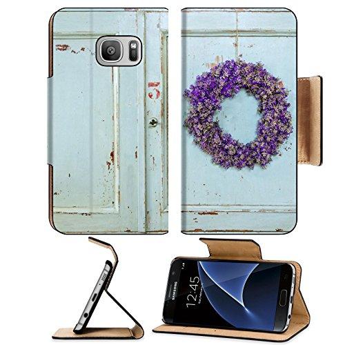 MSD Premium Samsung Galaxy S7 Flip Pu Leather Wallet Case IMAGE 22558786 Lavender flower wreath hanging on an old wooden vintage kitchen door