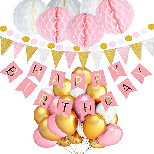 TopDeko Birthday Decorations for Girls, Happy Birthday Bunting Banner with 6PCS Honeycomb Balls, 9.8 Feet Triangle Flags Banner, 30pcs Dot String Paper Garland, 30pcs Pearl Balloons - Pink