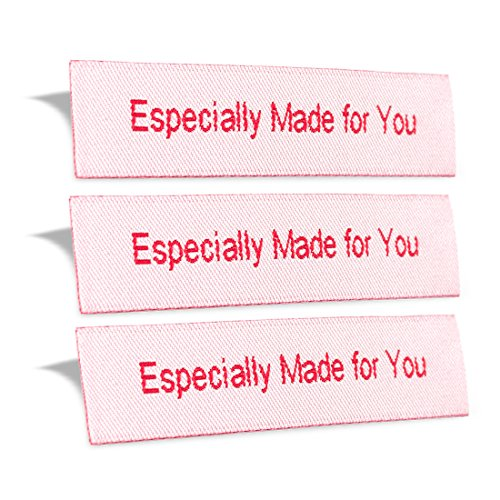 Wunderlabel Especially Made for You Crafting Craft Art Fashion Woven Ribbon Ribbons Tag for Clothing Sewing Sew Clothes Garment Fabric Material Embroidered Label Labels Tags, Red on White, 25 Labels by Wunderlabel