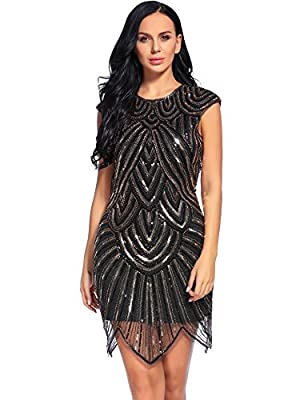 Flapper Girl 1920s Gatsby Sequin Embellished Mesh Flapper Dresses