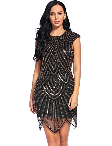 Flapper Girl Women's Flapper Sequins Dress 1920s Beaded Fringed Great Gatsby Dress (M, Black) (Flapper Girls Dresses)