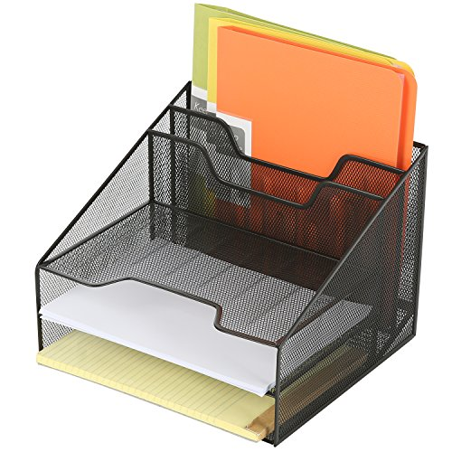 Deluxe Metal Mesh Desktop Document Holder with 3 Letter Tray and 2 Vertical File Folder Organizer, Black (Document Organizer Deluxe)