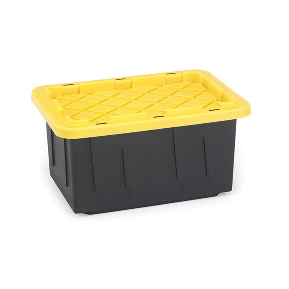 Homz 15-Gallon Durabilt Tough Tote, Black w/Yellow Lid, Stackable, 6-Pack by Homz