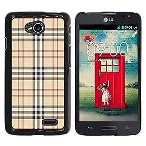 Qstar Arte & diseño plástico duro Fundas Cover Cubre Hard Case Cover para LG Optimus L70 / LS620 / D325 / MS323 ( Fashion Brand Fabric Pattern Style Brown Classic)