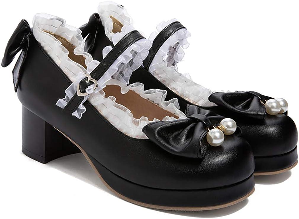 LOVOUO Mary Jane Chaussures Femme Escarpin Talon Bloc Carr/é Moyen Bride Cheville avec Noeud Boucle Sweet 5CM