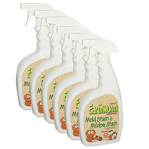 Earthworm Mold and Mildew Stain Remover Spray Treatment - Natural Enzymes, Safer for Family, Environmentally Responsible - 22 oz (Pack of 6)