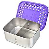 LunchBots Deep Duo Stainless Steel Food Container - Features a Removable Divider to Create 1 or 2 Sections - Great for Tall Sandwiches or Big Salads - Dishwasher Safe and BPA-Free - Purple Dots