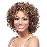 NOMSOCR Short Synthetic Curly Wigs Heat Resistant Fiber Kinky Curly Wigs for Women Afro Wigs with Free Wig Cap (brown)