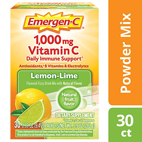 (Emergen-C (30 Count, Lemon-Lime Flavor, 1 Month Supply) Dietary Supplement Fizzy Drink Mix with 1000mg Vitamin C, 0.33 Ounce Powder Packets, Caffeine Free)