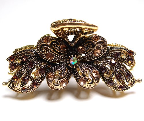 New Fashion Vintage Brown color Swarovski Crystal Butterfly Hair Claw Clip 89
