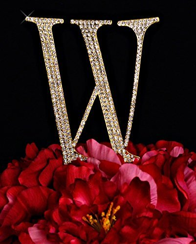 (Unik Occasions Collection Crystal Rhinestone Wedding Cake Topper, Large, Letter W, Gold)