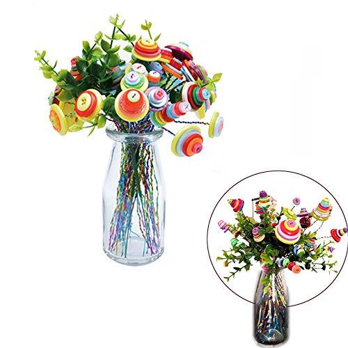 (Assorted Crafts Button Felt Bouquet Kit Making 40 Flowers for Teacher Gift)