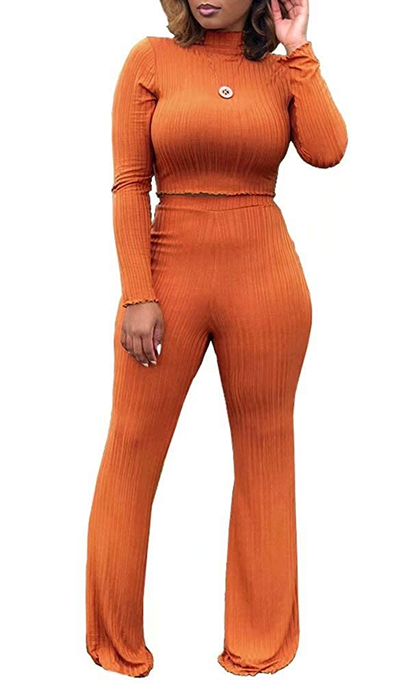 Womens Casual Solid Color 2 Piece Outfits Long Sleeve Sweater High Waist Wide Leg Pants Jumpsuits Set