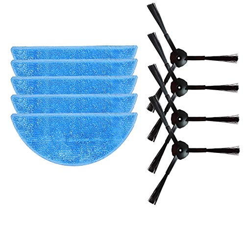 (JangGun Store 5X Mop Cloth + 4X Side Brush for ilife v7 Robotic Vacuum Cleaner Parts Accessories Replacement Brushes Cleaning mop)