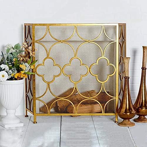 暖炉スクリーン 錬鉄メッシュカバー、ベビーセーフ火ベビー金庫/リビングルームの装飾のための証明パネル、と3パネル暖炉スクリーン