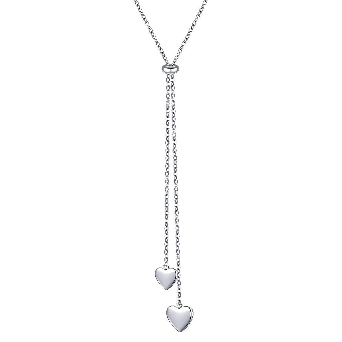 YinShan Long Chain Dainty Necklace Simple Style 925 Sterling Silver Pendant Adjustable Y Shaped Necklace Jewelry (Heart) by YinShan