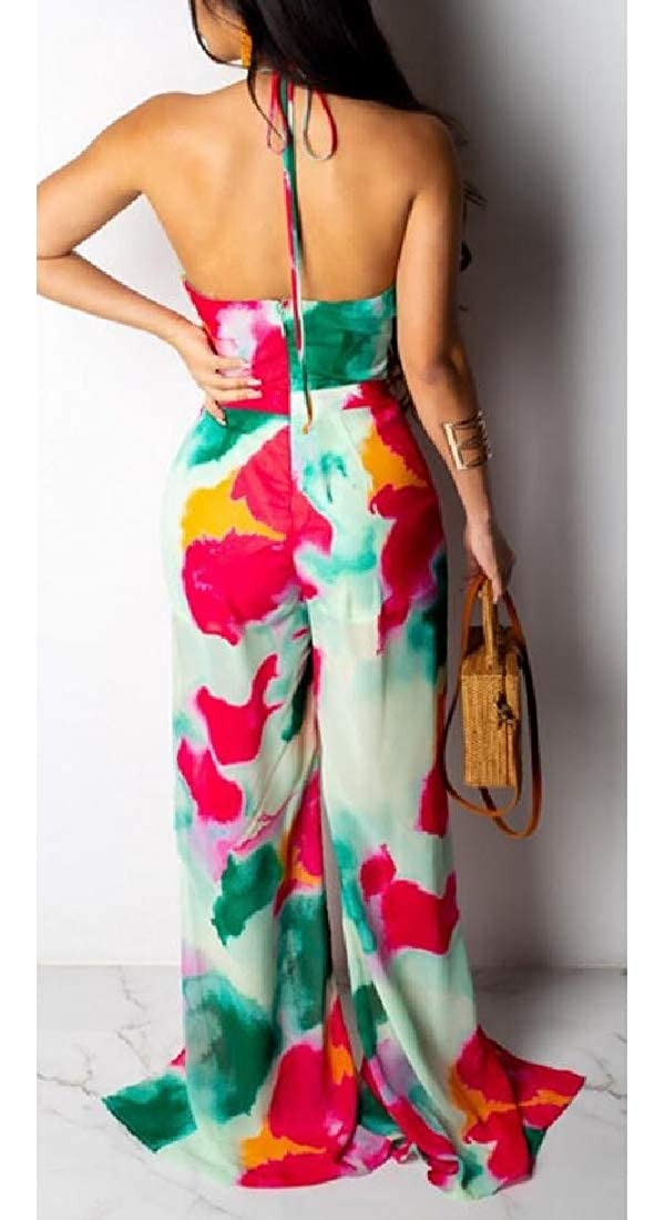 pipigo Womens Halter Backless Irregular Spaghetti Strap Split Cut Out Tie Dyed Playsuit Jumpsuits