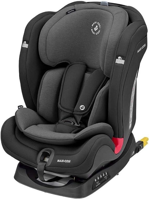 Maxi-Cosi Titan Plus Seggiolino Auto Isofix 9-36 Kg Reclinabile, per Bambini 9 Mesi -12 Anni, Gruppo 1 2 3, Regolazione Automatica Temperatura Seggiolino, Nero