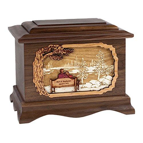 Wood Cremation Urn - Walnut Soulmates by Lake Ambassador
