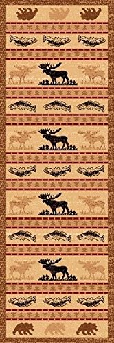 2X7 Runner Country Theme Moose Fish Bear Elk Brown Rug by Persian Rugs