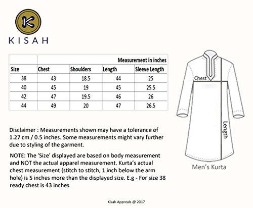 KISAH Men's Teal Blue Dupion Silk Solid Kurta Churidar Set by KISAH (Image #7)