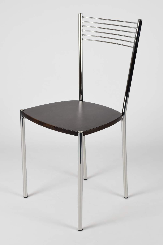 con Robusta Struttura in Acciaio Cromato e Seduta in Legno Colore weng/è Tommychairs Set 4 sedie Moderne e di Design Elegance per Cucina Bar salotti e Sala da Pranzo