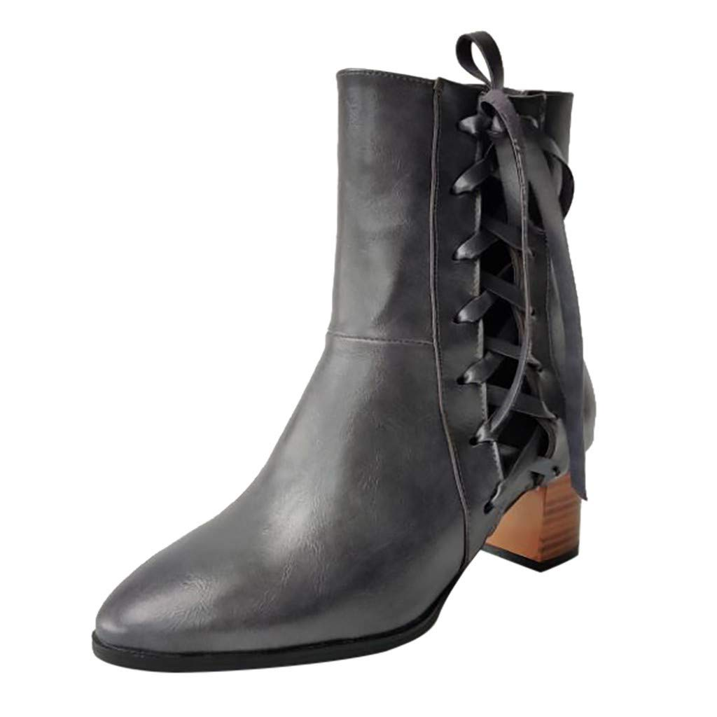 Womens Leather Block Heel Ankle Boots Round Toe Lace up Side Zip Vintage Booties Fashion Western Cowboy Boot Gray by SSYUNO