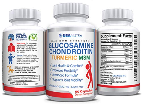 Glucosamine Chondroitin Turmeric MSM Boswellia 90 Vegan Capsules. Relieve Joint Pain and Inflammation, Improve Flexibility, Supports Healing. Made in The USA