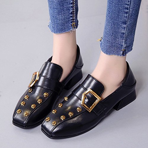 T-july Mujeres Square Toe Con Remache Mocasines Retro Low Heel Belt Buckle Soft Penny Zapatos Negro