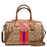 New Authentic COACH Limited Edition 'Varsity Stripe Signature Bennett' Khaki/Saddle Satchel Crossbody
