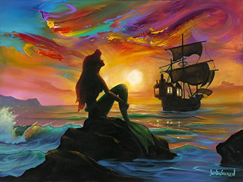Disney Fine Art Waiting for The Ship to Come in by Jim Warren 18 Inches x 24 Inches Little Mermaid Reproduction Limited Edition Giclée on Canvas Wall Art