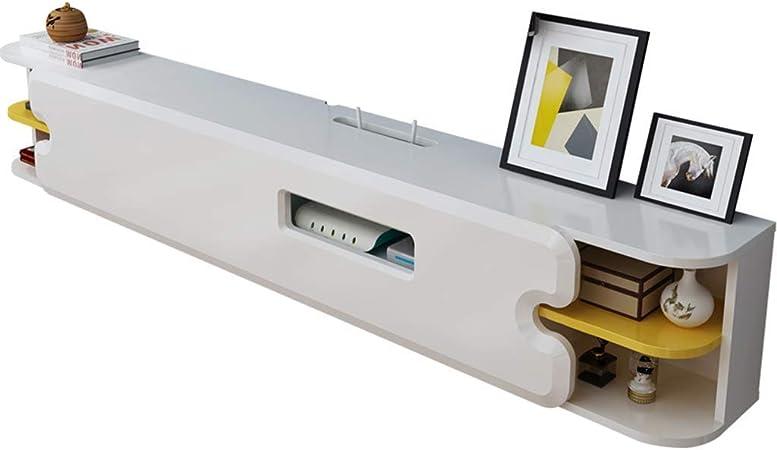 Jsmhh Montado en la Pared de TV Flotante Soporte con 2 Capas de Blanco Media Console