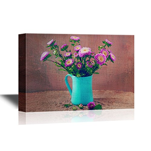 Flowers Vase Life Floral Still (wall26 Canvas Wall Art - Still Life Flowers, Chrysanthemum in Blue Vase - Gallery Wrap Modern Home Decor | Ready to Hang - 16x24 inches)