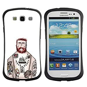 Be-Star Colorful Printed Design Anti-Shock Iface First Class Tpu Case Bumper Cover For SAMSUNG Galaxy S3 III / i9300 / i747 ( tattoo captain white ink rustic man ) Kimberly Kurzendoerfer