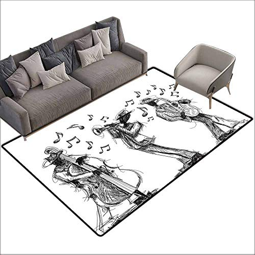 (Bath Rug Slip Jazz Music Decor Sketch Style of a Jazz Band Playing Music with Instruments and Musical Notes Print Suitable for Outdoor and Indoor use W6' x L8'10 Black White)
